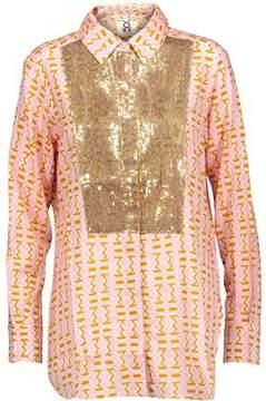Figue Lamu Sequin-Embellished Printed Cotton-Blend Gauze Shirt