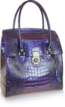 L.A.P.A. Croco Stamped Leather Flap Tote Bag