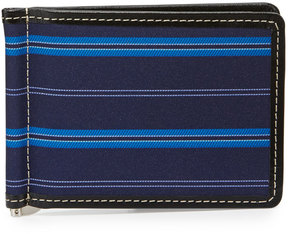 Neiman Marcus Striped Flip Wallet with Money Clip, Blue/Multi
