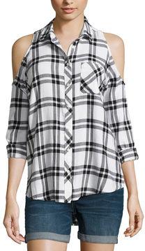 Arizona Cold Shoulder Plaid Shirt-Juniors