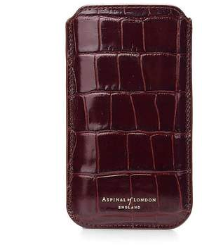 Aspinal of London Iphone 6 / 7 Leather Sleeve In Deep Shine Amazon Brown Croc Stone Suede