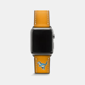 COACH APPLE WATCH REXY LEATHER STRAP - GOLDENROD