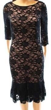 Calvin Klein Women's 3/4 Sleeves Lace Sheath Dress
