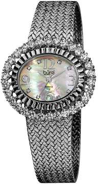 Burgi Mother Of Pearl Dial Silver-Tone Brass Ladies Watch