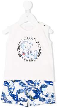 Versace bear print shorts and vest set