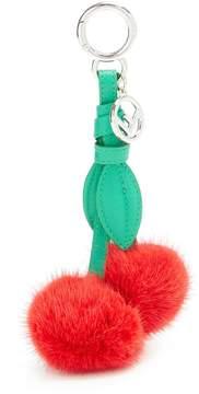 Fendi Cherry leather and fox-fur bag charm