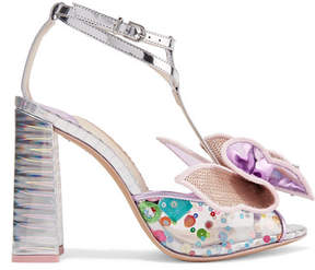 Sophia Webster Lana Embellished Pvc And Metallic Leather Sandals - Silver