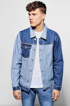 boohoo Mid Blue Spliced Multi Denim Jacket