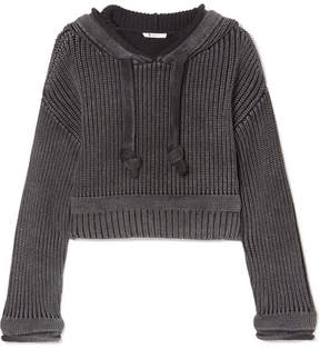 Alexander Wang Hooded Cropped Cotton Sweater - Black