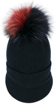 Inverni fox fur pom pom visor beanie
