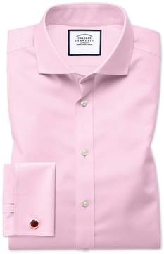 Charles Tyrwhitt Slim Fit Spread Collar Non-Iron Twill Pink Cotton Dress Shirt Single Cuff Size 15/32