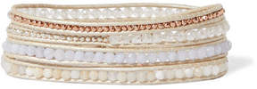 Chan Luu Rose Gold And Silver-tone Multi-stone Wrap Bracelet