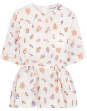 Emilia Wickstead Gerty Floral-Print Cloqué Peplum Top