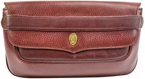 Cartier Vintage C Burgundy Leather Clutch Bag