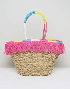 South Beach Fringe Straw Bag With Wrapped Handles