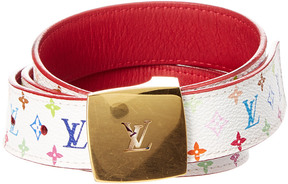 Louis Vuitton White Monogram Multicolor Canvas Ceinture Belt (Size 90)