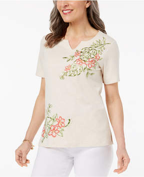 Alfred Dunner Parrot Cay Floral-Print Embroidered Top