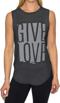 Betsey Johnson GIVE LOVE STRIPE HIGH LOW MUSCLE TEE
