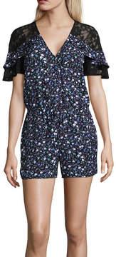 BELLE + SKY Short Sleeve Lace Yoke Romper