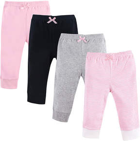 Luvable Friends Pink & Gray Stripe Ankle Pants Set - Newborn & Infant