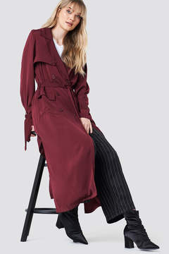 Na Kd Classic Trench Coat Wine Red