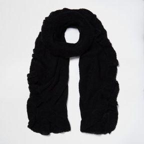 River Island Womens Black frill hem knit scarf