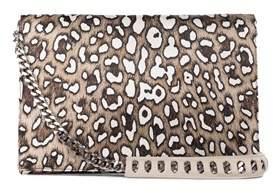 Roberto Cavalli Silk Leather Large Brown Cheetah Print Juno Clutch