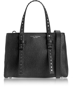 Marc Jacobs Black Leather Mini T Studded Tote - BLACK - STYLE