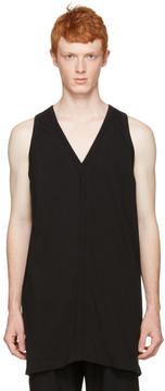 Rick Owens Black Oversized V-Neck Tank top