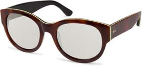 Cynthia Rowley Tortoise Round Plastic Sunglasses.