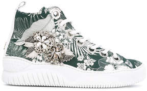 No.21 embellished tropical high-tops