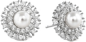 Crislu Embellished Halo Platinum Plated 5Mm Pearl & Cz Drop Earrings