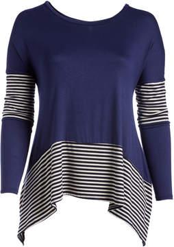 Celeste Navy Stripe Hi-Low Tunic - Plus