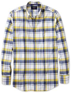 Charles Tyrwhitt Slim Fit Button-Down Poplin Navy Blue and Yellow Check Cotton Casual Shirt Single Cuff Size Large