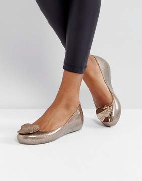Melissa Ultragirl Love Gold Glitter Flat Shoes