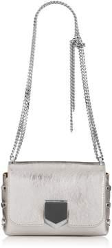 Jimmy Choo LOCKETT PETITE Vintage Silver Etched Metallic Spazzolato Leather Shoulder Bag
