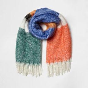 River Island Womens Orange color block oversized blanket scarf