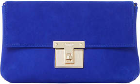 Dune Birchin fold-over suede clutch bag