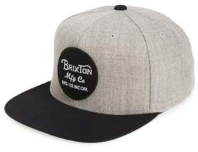 Brixton Men's 'Wheeler' Snapback Cap - Grey