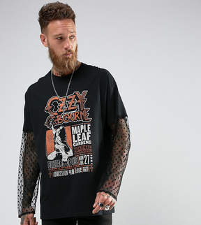 Reclaimed Vintage Inspired Oversized Long Sleeve T-Shirt With Lace Sleeves And Ozzy Print
