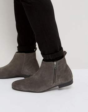 Frank Wright Side Zip Chelsea Boots Charcoal Suede