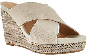 Me Too Canvas Cross Strap Slide Wedges - Athena