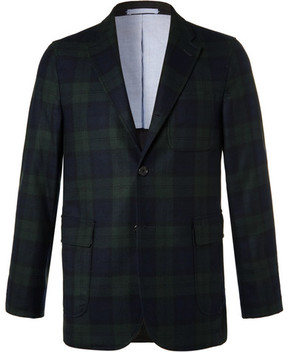 Beams Navy Slim-Fit Black Watch Checked Wool-Blend Blazer