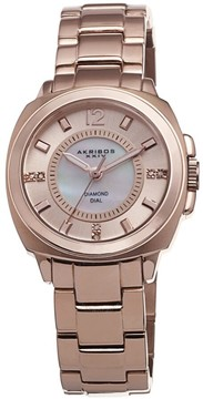 Akribos XXIV Mother of Pearl Rose Gold-tone Ladies Watch