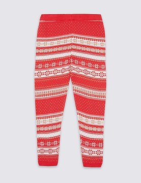Marks and Spencer Cotton Rich Intarsia Knit Leggings (3 Months - 6 Years)