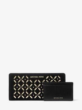 MICHAEL Michael Kors Large Embellished Suede Slim Wallet