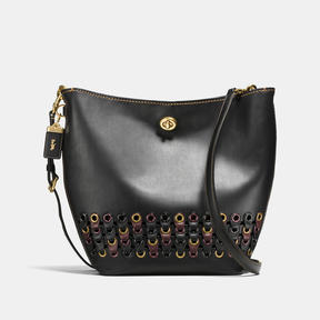 COACH DUFFLE SHOULDER BAG WITH LINK DETAIL IN GLOVETANNED LEATHER - BRASS/BLACK MULTI