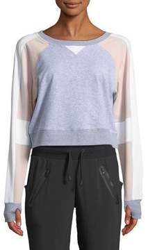 Blanc Noir Flashback Colorblock Cropped Sweatshirt