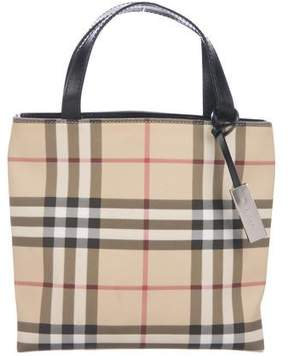 Burberry Leather-Trimmed Mini Nova Check Bag