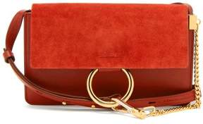 Chloé Faye Small Suede And Leather Shoulder Bag - Womens - Red